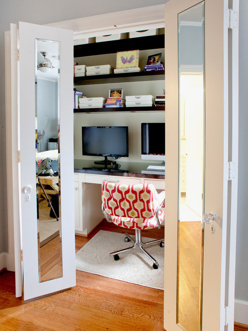 Desk Built Into Closet closet office | houzz