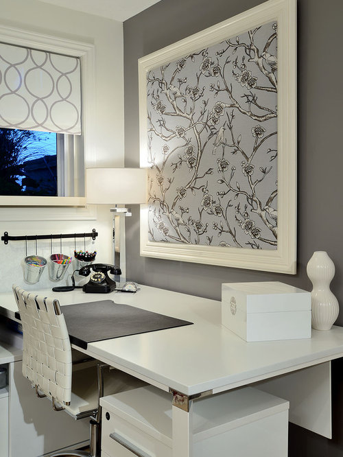 Example Of A Trendy Home Office Design In Toronto With Gray Walls And Freestanding Desk