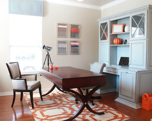 Orange and blue decor houzz for Best carpet for home office