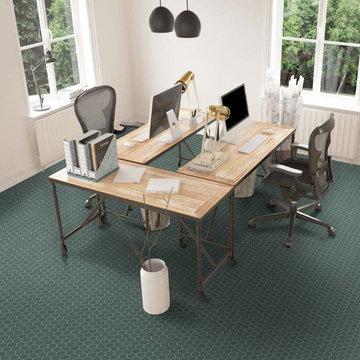 Contemporary home office with hexagon porelain tiled floor