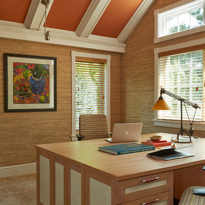 Transitional freestanding desk home office photo in Minneapolis
