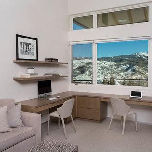 Foto de despacho minimalista, de tamaño medio, con paredes blancas, moqueta, chimenea de doble cara, marco de chimenea de yeso, escritorio empotrado y suelo beige
