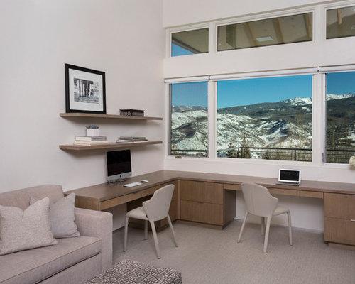 Moderne arbeitszimmer mit verputztem kaminsims ideen - Wandfarbe arbeitszimmer ...