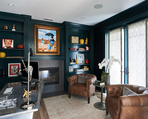 Transitional Home Office transitional home office with a tile fireplace surround ideas