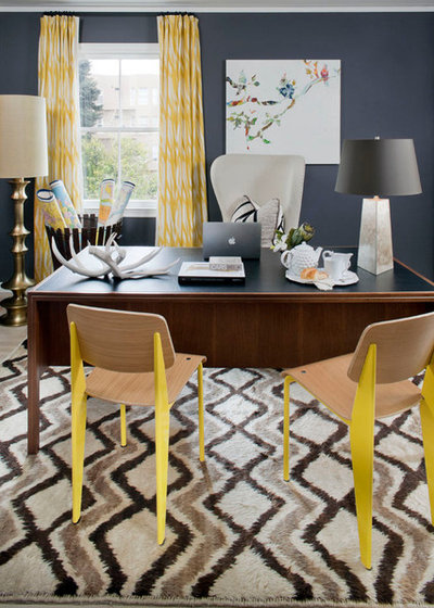 Eclectic Home Office & Library by Jeff Schlarb Design Studio