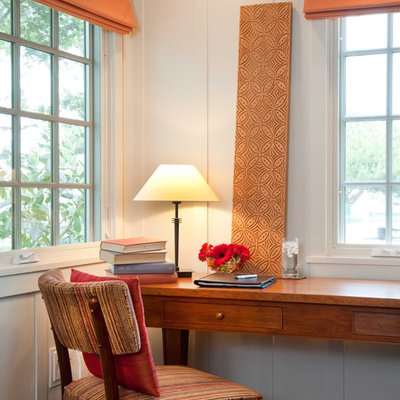 Study room - mid-sized traditional freestanding desk dark wood floor and brown floor study room idea in San Diego with white walls and no fireplace