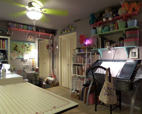 eclectic brown craft room design ideas renovations photos