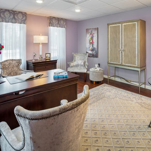 Design ideas for a medium sized traditional home office and library in Providence with purple walls, vinyl flooring, a freestanding desk and no fireplace.