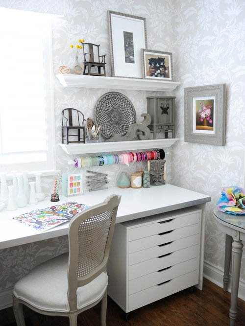 shabby chic home office. small shabbychic style builtin desk dark wood floor craft room idea in shabby chic home office