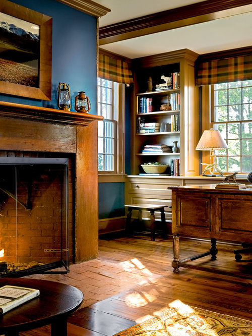 Inspiration For A Timeless Medium Tone Wood Floor And Brown Home Office Remodel In New
