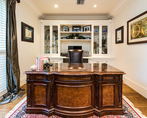 traditional home office design. Traditional Study Room In Melbourne With Medium Hardwood Floors And A Freestanding Desk. Home Office Design