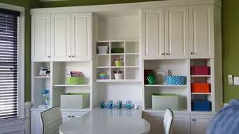 Custom built cabinetry for storage and school supplies