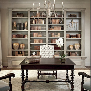 Inspiration for a large timeless freestanding desk medium tone wood floor and brown floor study room remodel in Atlanta with gray walls and no fireplace