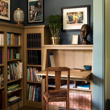 Custom desk and built-ins within Library of a historic Craftsman residence in Sa
