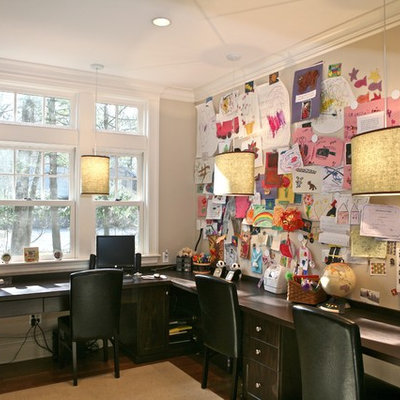 Inspiration for a contemporary built-in desk home office remodel in Boston