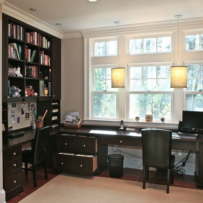 Home office - traditional built-in desk home office idea in Boston