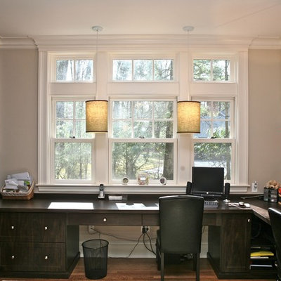 Trendy built-in desk home office photo in Boston