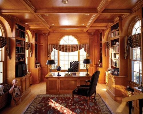 Nice Inspiration For A Timeless Freestanding Desk Medium Tone Wood Floor Home  Office Remodel In Boston