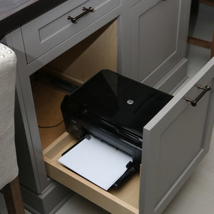 Custom office with laundry and cubbies