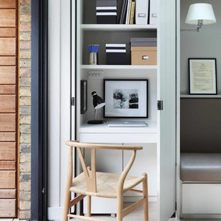 Contemporary home office and library in London.