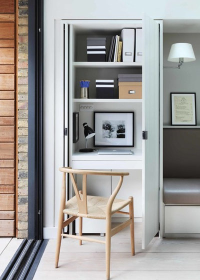 Contemporary Home Office & Library by De Rosee Sa