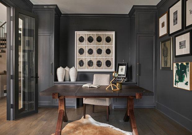 Transitional Home Office & Library by Elizabeth Krueger Design