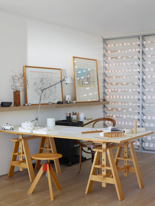 office at home design. Design Ideas For A Mid-sized Contemporary Study Room In Sydney With White Walls, Office At Home