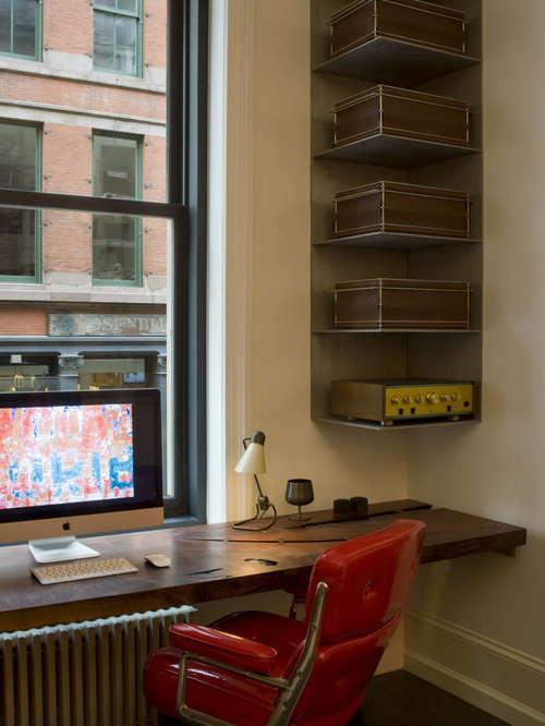 urban built in desk home office photo in new york