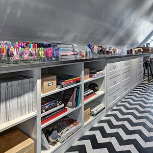 Eclectic multicolored floor home office photo in Minneapolis