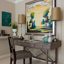 Transitional Home Office by LORNA GROSS Interior Design