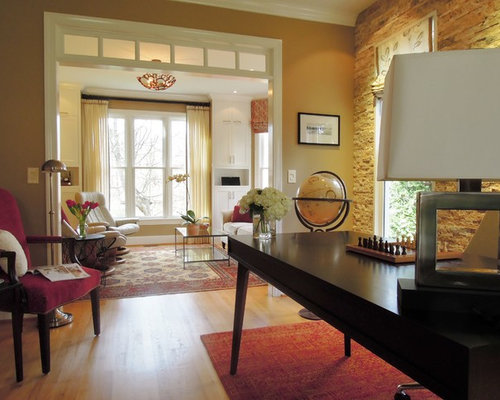 Inspiration For A Contemporary Home Office Remodel In Raleigh With Beige  Walls