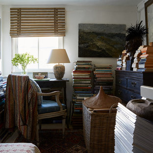 Design ideas for a bohemian home office in London with white walls and a freestanding desk.