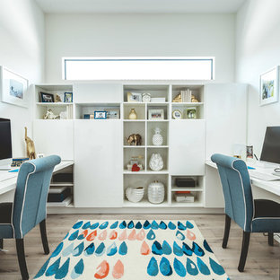 Superbe Inspiration For A Contemporary Built In Desk Light Wood Floor Home Office  Remodel In Miami