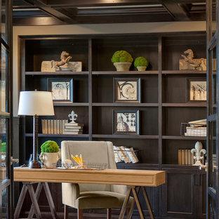 Inspiration pour un bureau design avec un mur gris et moquette.