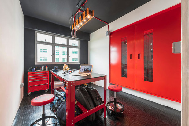 Industrial Home Office & Library by ERStudio Pte Ltd