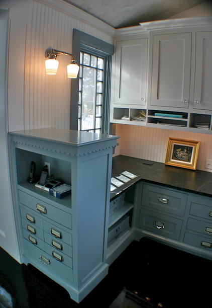 eclectic home office by Artisan Kitchens LLC