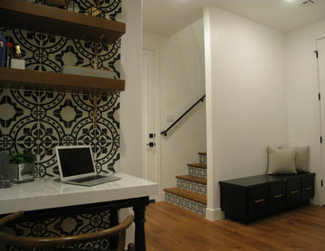 Desk, Kitchen and Stairway with Cement Tile