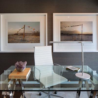 Mid-sized trendy freestanding desk dark wood floor study room photo in San Francisco with gray walls
