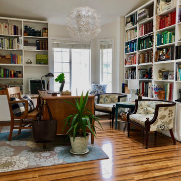 Dining room turned library.