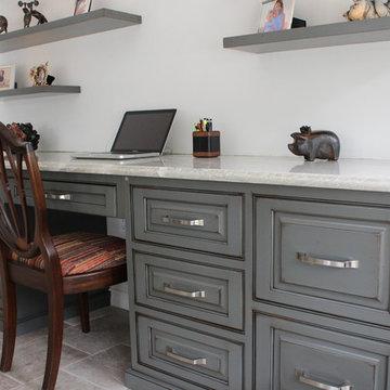 Distressed Desk with Floating Shelves