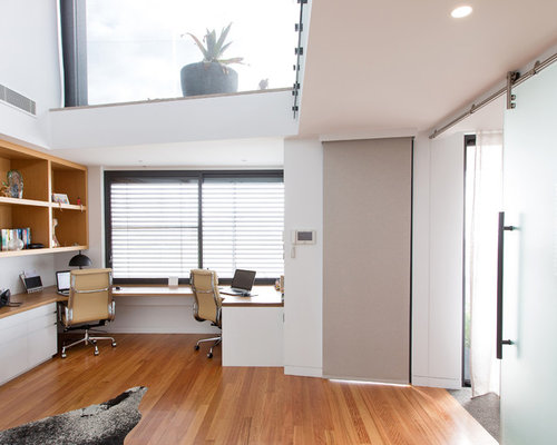 Design Ideas For A Large Contemporary Study Room In Newcastle   Maitland  With White Walls,