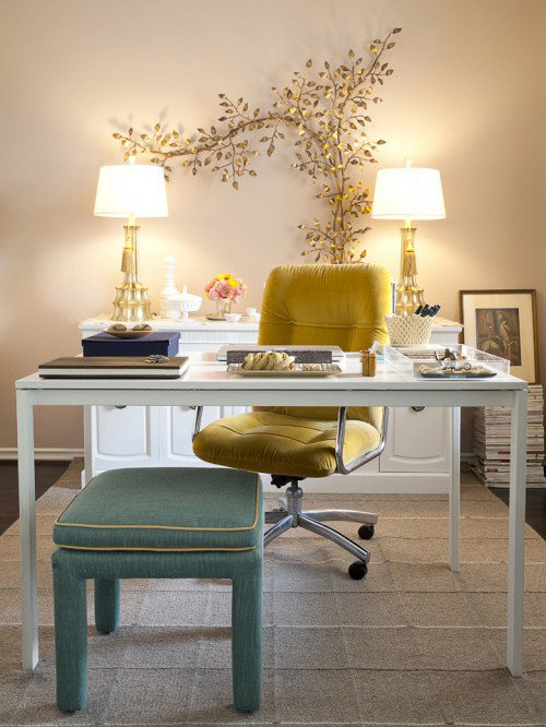 Home Office Shabby Chic Style Freestanding Desk Idea In Orange County With
