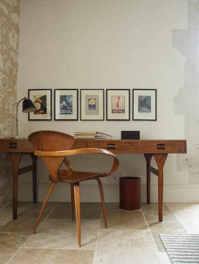 Midcentury Home Office & Library by Susan Fisher Photography