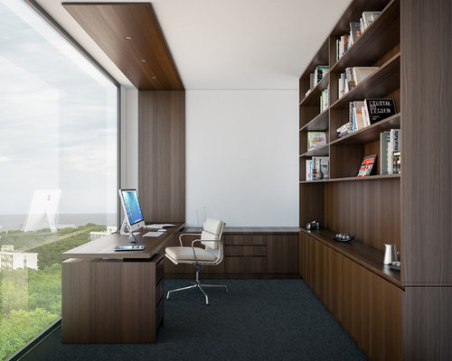 Superior Design Ideas For A Mid Sized Modern Study Room In Melbourne With White  Walls,