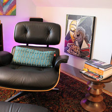 Eclectic Home Office Eames Lounge Chair & Eames Walnut Stool