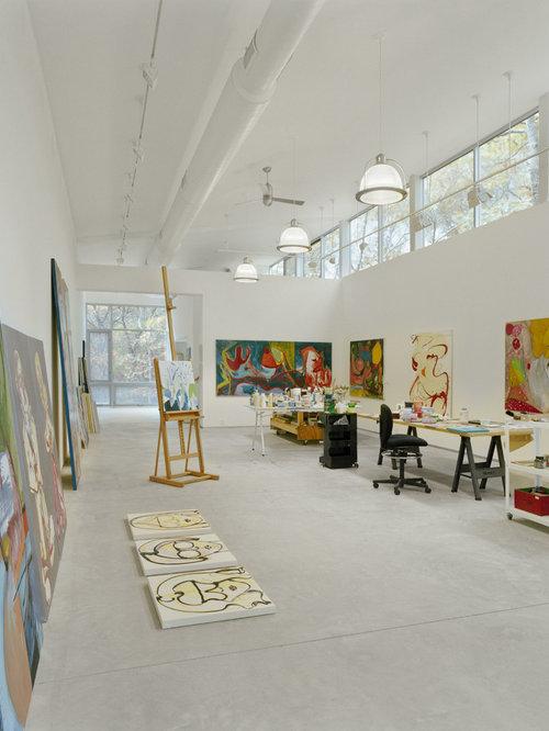 Minimalist Concrete Floor Home Office Photo In New York