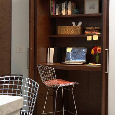 Trendy built-in desk home office photo in Minneapolis