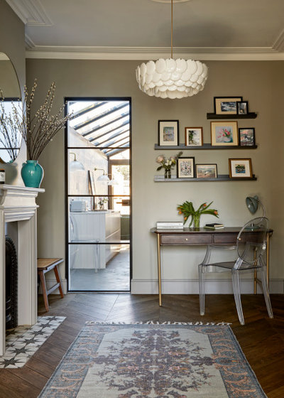 Transitional Home Office & Library by FIONA DUKE INTERIORS