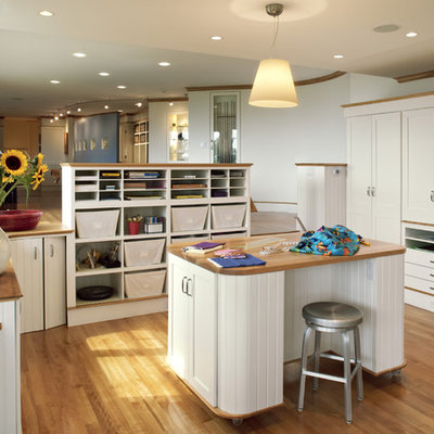 Example of a trendy craft room design in Boston