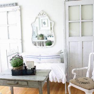 Home Office Shabby Chic Style Medium Tone Wood Floor Idea In Chicago